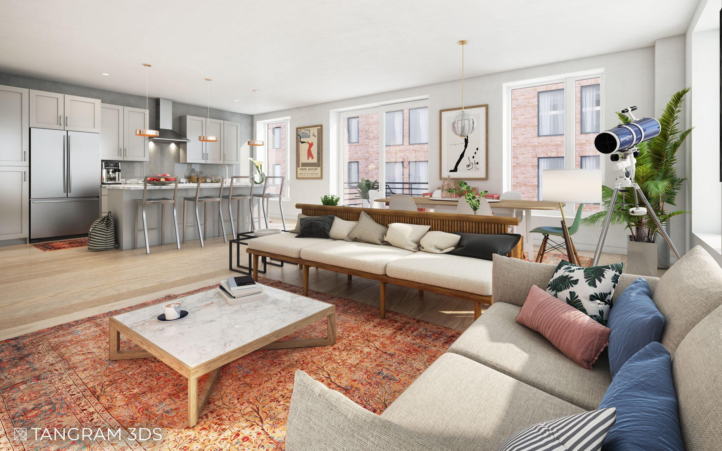 Interior Residential Living Room Kitchen Tangram 3DS
